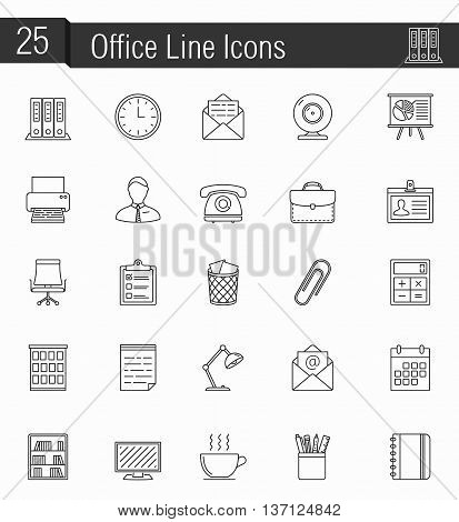25 office line icons, vector eps10 illustration