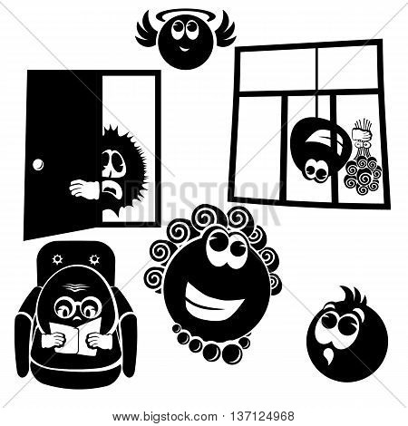 Set cheerful little men. Collection of cartoon funny vector silhouettes. Vector illustration