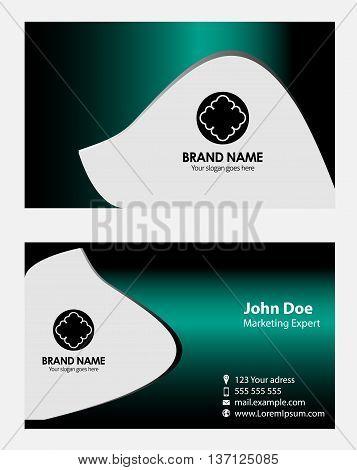 Blue modern business card template template design vector