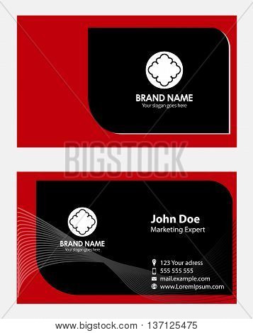 Red creative business cards template design vector
