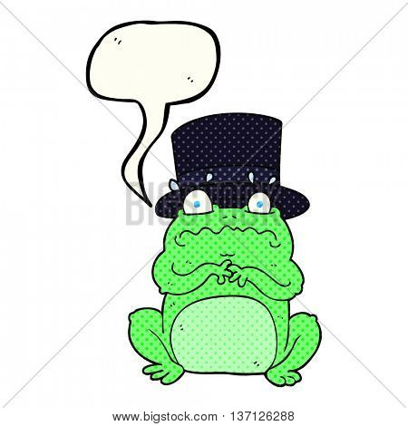 freehand drawn comic book speech bubble cartoon wealthy toad