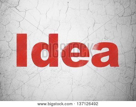 Advertising concept: Red Idea on textured concrete wall background