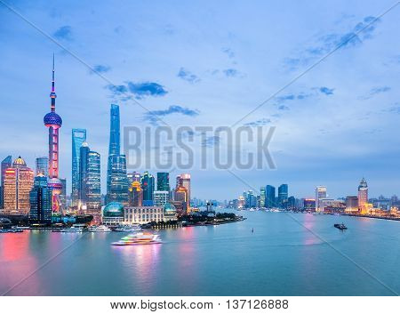 beautiful shanghai cityscape in nightfall huangpu river with pudong skyline China