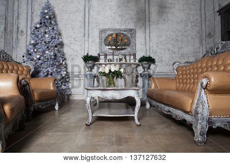Christmas living room with tree.