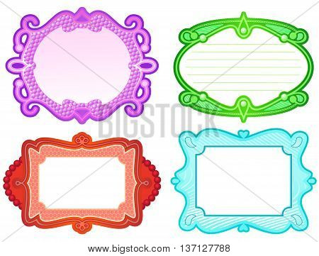 Set of four ornate label style frames in different colors