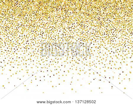 Vector gold glitter confetti pattern on white background. Shine premium wallpaper for vip greeting card.