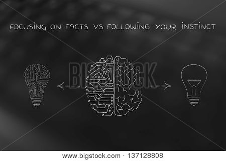 Human & Circuit Brain Having Different Ideas, Facts Vs Feelings