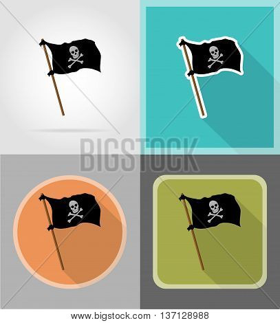 pirate flag flat icons vector illustration isolated on background
