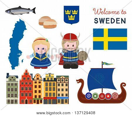 Welcome to Sweden, traditional scandinavian symbols set with cartoon characters of vikings in ancient scandinavian clothing. Vector illustration