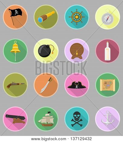 pirate flat icons vector illustration isolated on white background