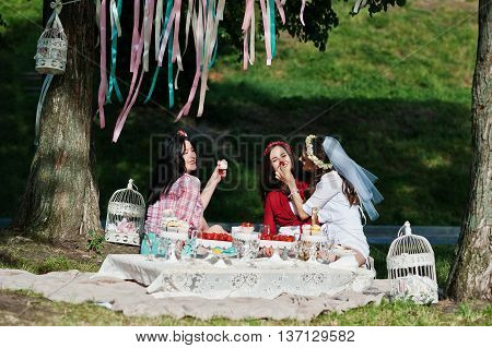 Three Girl Fed Each Other Cake And Strawberry At Bachelorette Party