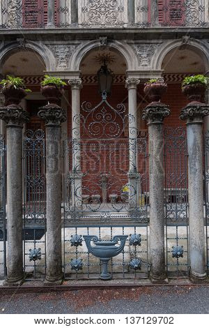 BRUNATE, ITALY - MAY 2016:Details of  villa in eclectic and art nouveau style