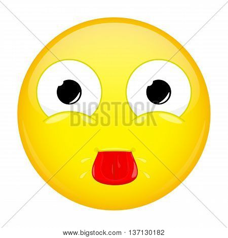 Show tongue emoji. Tease emotion. Put out tongue emoticon. Vector illustration icon.