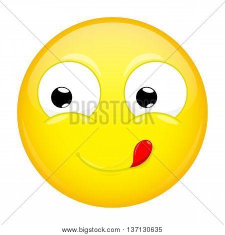 Lick lips emoji. Good emotion. Yummy emoticon. Vector illustration icon.
