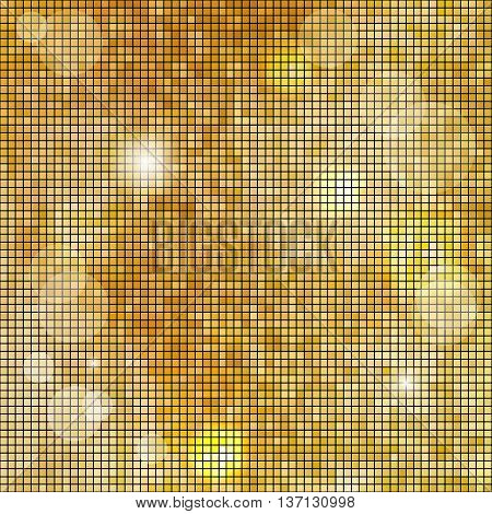 Abstract square golden mosaic background. Vector illustration.