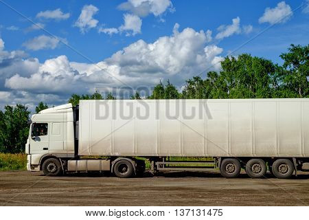 Commercial van vehicle is at a stop in Siberia, Russia.