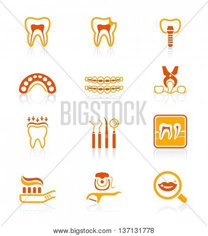 Dental care tools and procedures red-orange icon-set