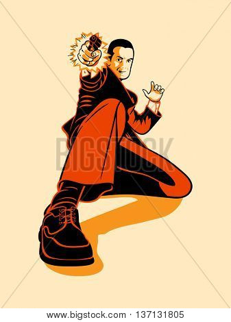 Mafia hitman shooting in retro three color print