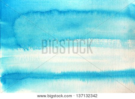 Hand drawn blue stripes. Abstract watercolor background. Hand drawn ink illustration. Watercolor stripes. Watercolor abstract backdrop.