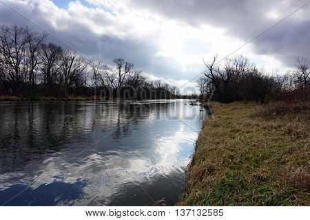 A view of the Du Page River, which flows through Plainfield, Illinois.