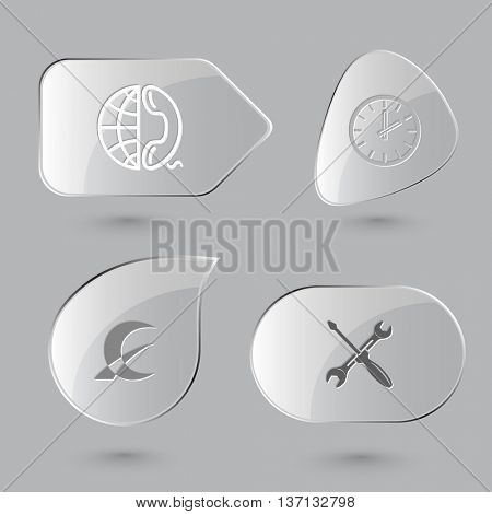 4 images: globe and phone, clock, monetary sign, screwdriver and spanner. Business set. Glass buttons on gray background. Vector icons.