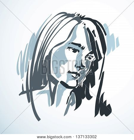 Silhouette of beautiful tender woman graphic vector illustration with strokes. Facial expressions people emotions.