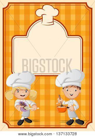 Orange restaurant menu with cartoon chefs cooking.