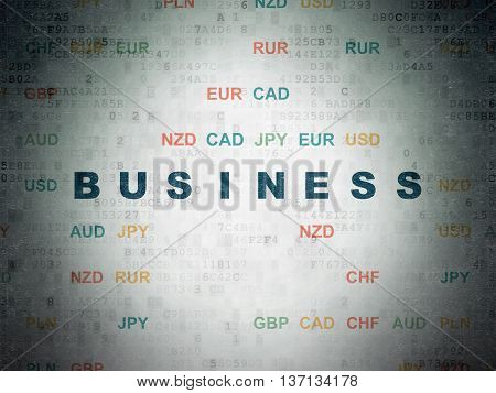 Finance concept: Painted blue text Business on Digital Data Paper background with Currency