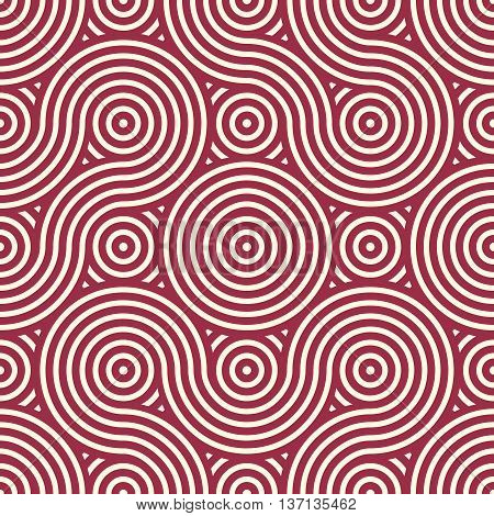 Red vector endless pattern created with thin undulate stripes and circles seamless composition. Continuous interlace texture can be used as website background