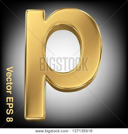 Vector letter p from gold solid alphabet. Eps 8 using mesh.