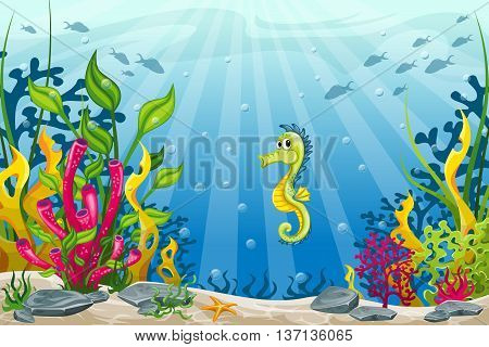 Illustration of underwater landscape with one seahorse