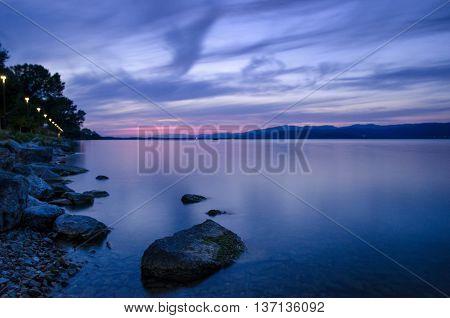 Lake Trasimeno (Umbria Italy) at blue hour