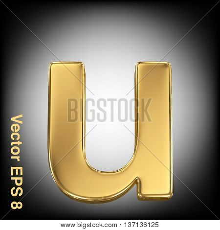 Vector letter u from gold solid alphabet. Eps 8 using mesh.