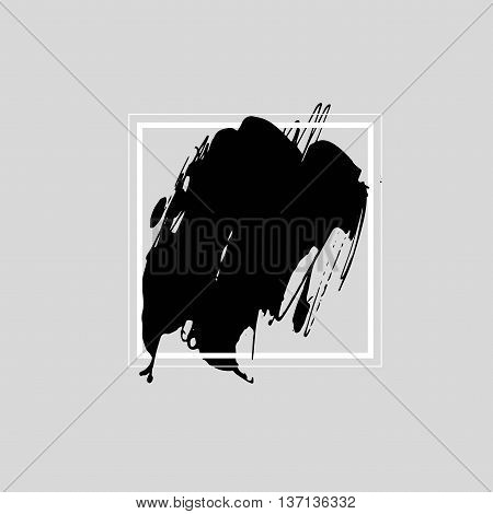 Abstract black ink background in white frame. Brush monochrome stroke in square. Hand drawn black ink illustration. Abstract watercolor texture. Ink brush strokes with rough edges.