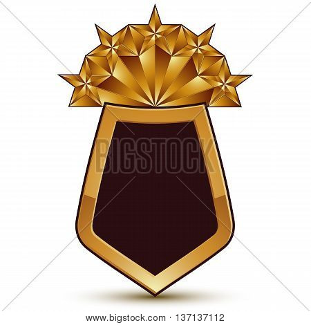 Sophisticated vector blazon with a golden star emblem 3d polygonal glamorous design element