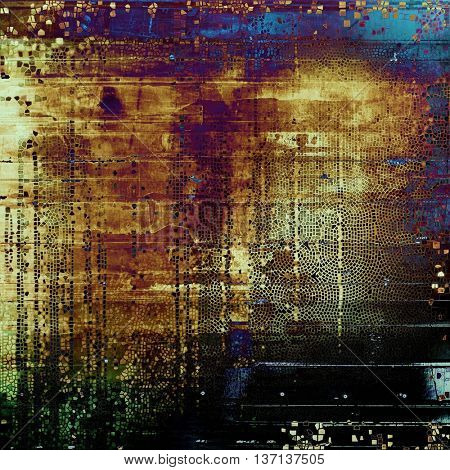 Vintage style designed background, scratched grungy texture with different color patterns: yellow (beige); brown; blue; red (orange); black; purple (violet)