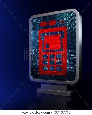Money concept: ATM Machine on advertising billboard background, 3D rendering