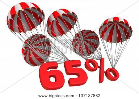 Sixty five percent is falling down on parachute. Isolated. 3D Illustration