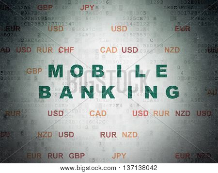 Currency concept: Painted green text Mobile Banking on Digital Data Paper background with Currency
