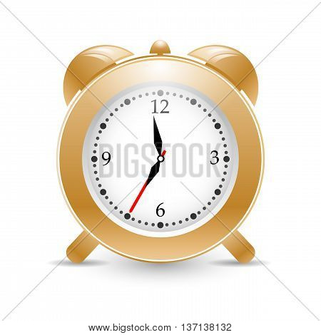 Golden vector alarm clock isolated on background with shadows. eps10