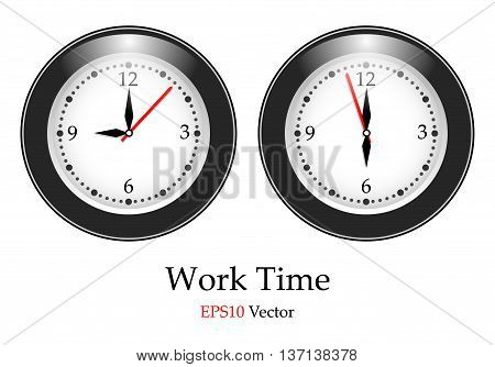 Vector simple classic black and white round wall clock isolated over white. Eps10