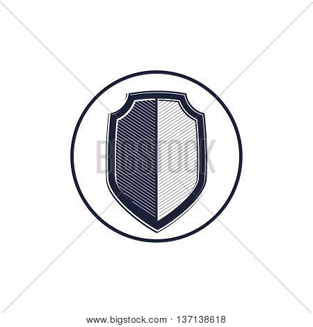 Stylish defense shield protection idea graphic design element. Detailed high quality illustration of coat of arms.