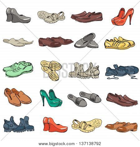 Hand drawing various types of different footwear. Shoes icons sketch male and female shoes sandals boots moccasins rubber boots and else. Vector illustration of shoes sketch background.