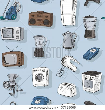 Seamless pattern with sketches of household appliances. Vector illustration.