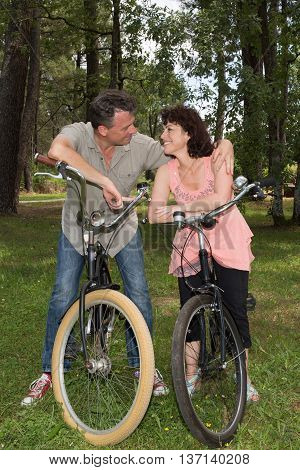 Couple Loving Each Other While Out Riding Bikes