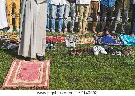 Detail Of Muslim People Celebrating Eid In Milan, Italy