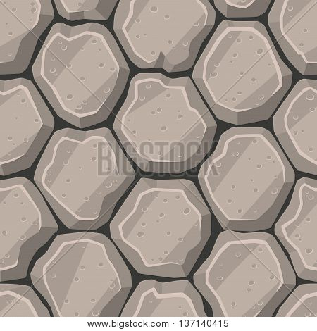 Seamless vector cartton stone pattern, grayscale colors.
