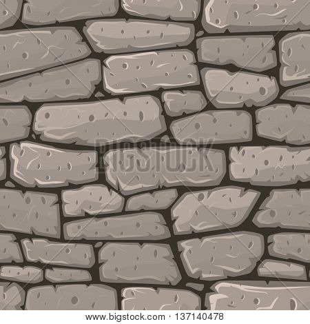 Seamless cartoon stone wall or road texture. Vector illustration.