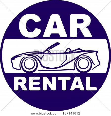 Car rental blue design for your application or logo with silhouette of cabriolet