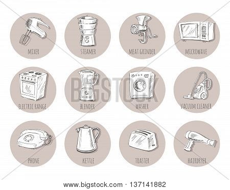 Sketches of household appliances can be used as an icon or other design. Vector illustration.